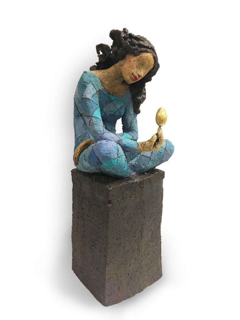 Gullegget, keramikk, skulptur, Ingun Dahlin
