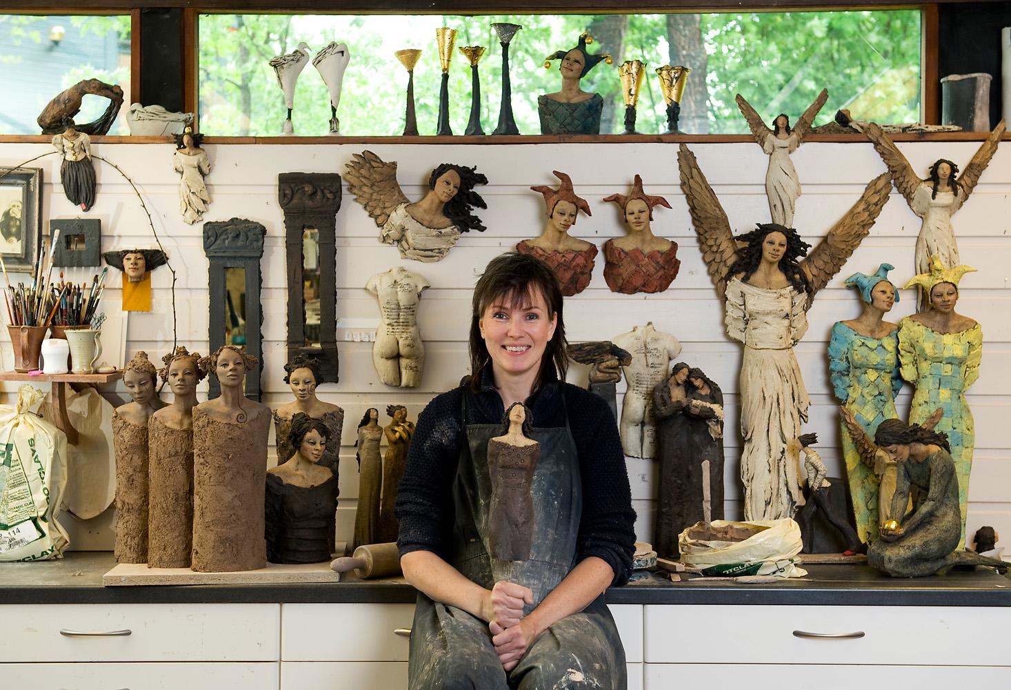 I verkstedet, Ingun Dahlin, keramikk, skulptur, verksted