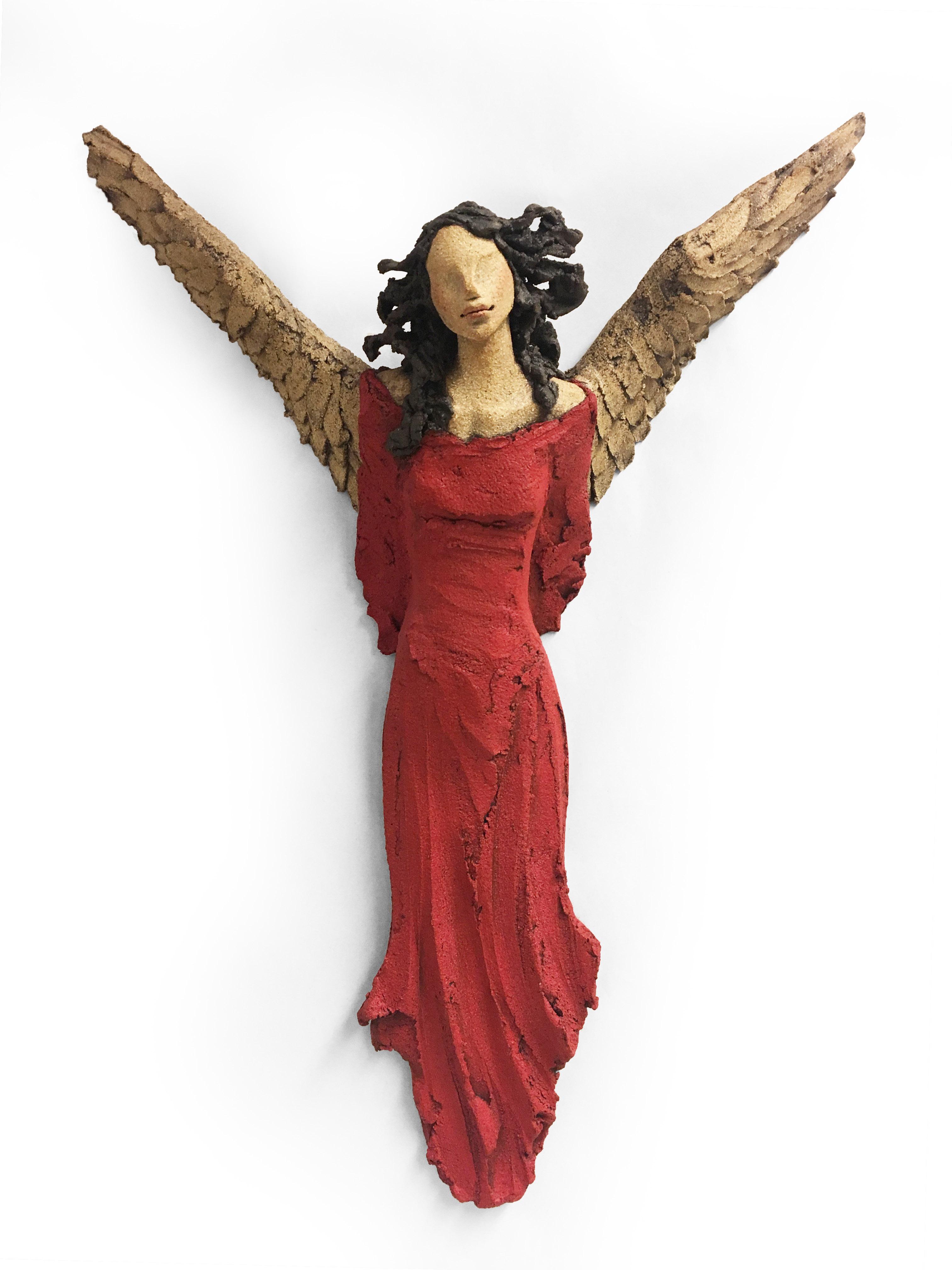 Engel, veggengel, skulptur, keramikk, Ingun Dahlin
