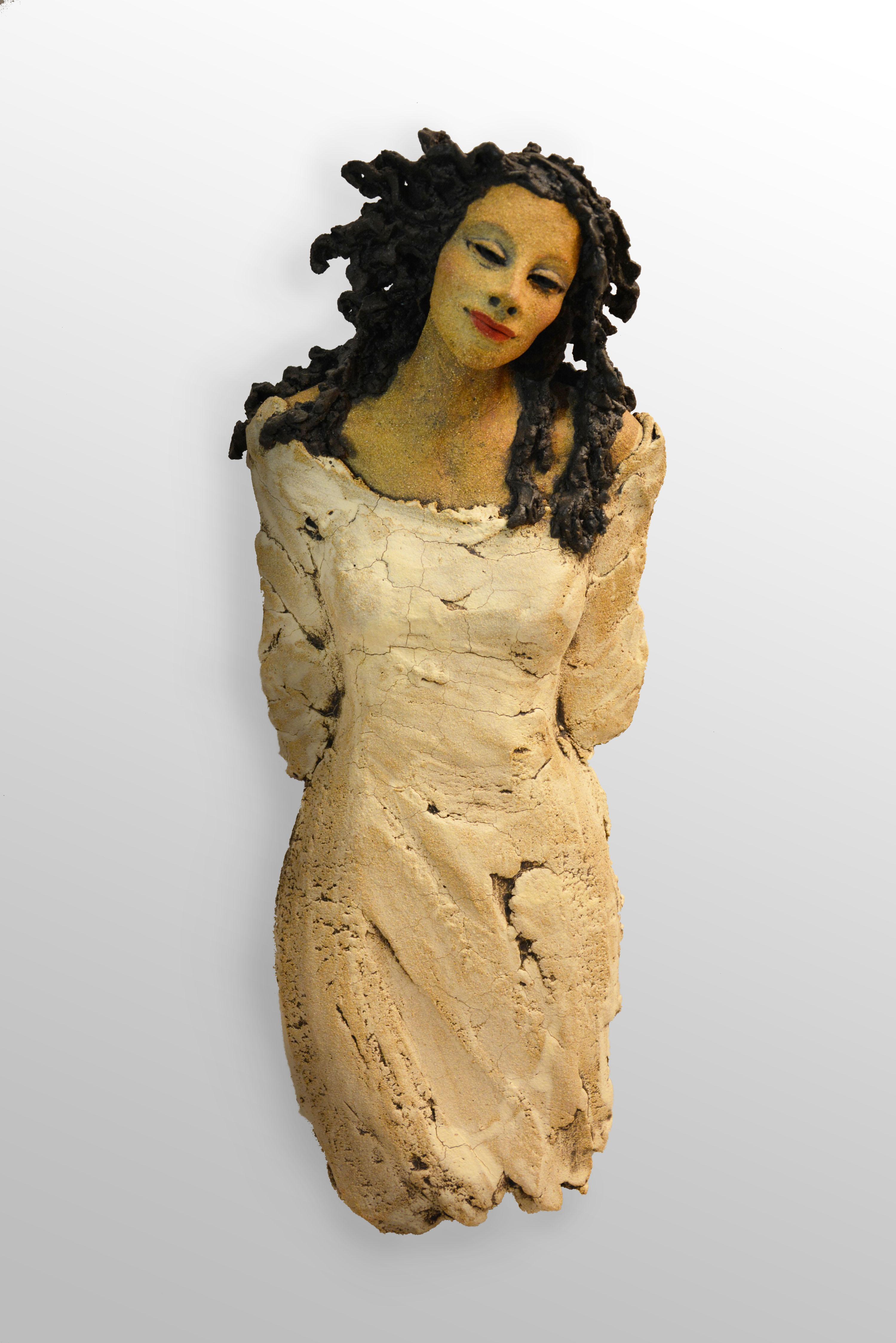 hvit veggdame, skulptur, keramikk, Ingun Dahlin
