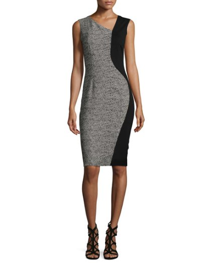 Lyndsy Sleeveless Flocked Jacquard Sheath Dresses