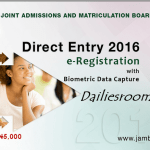 JAMB Direct Entry 2016 e-Registration Form is out