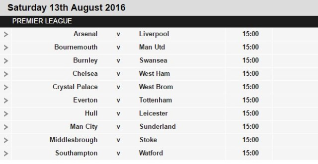 2016/2017 English Premier League Fixtures (BPL)