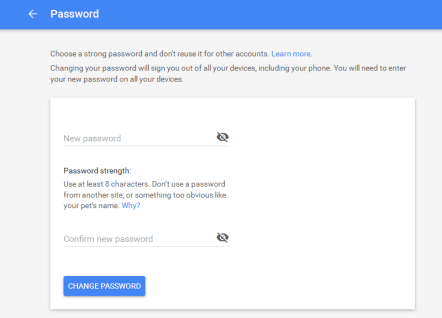 Change or Reset Google account password | Forgotten password | password Requirements