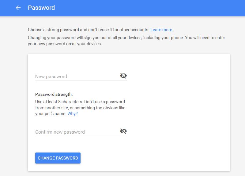 how to change google play password