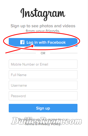 Instagram PC Version Sign Up Registration - Log in Instagram with Facebook