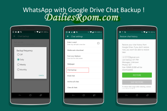 How to Backup Whatsapp messages and media to Google Drive on Android