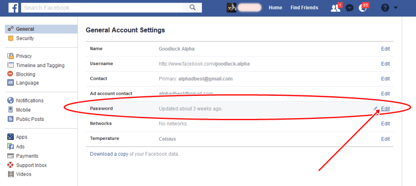 Change Facebook Account Password Via Computer