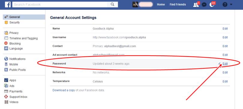 Change Facebook Account Password Via Computer