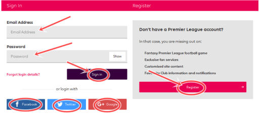 Create Premier League Account Free | Premier league Account free registration/SignUp/Sign In | www.premierleague.com