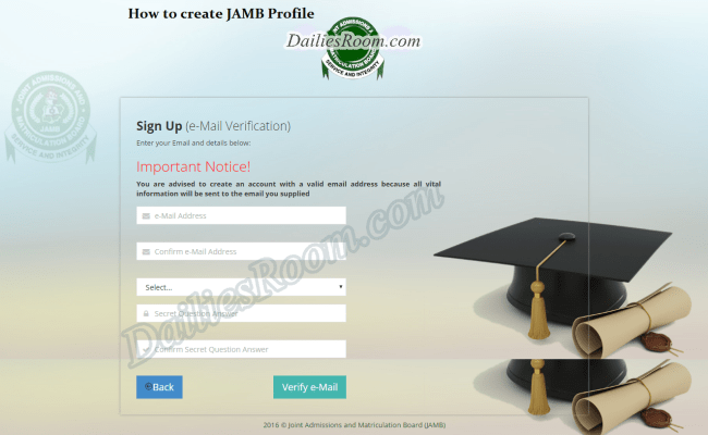 UTME Registration : JAMB Profile Creation Form - Step-by-step guide to Create JAMB Account/Login