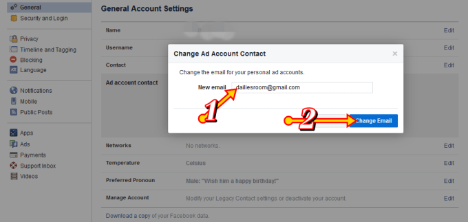 Facebook New Email Account Remove