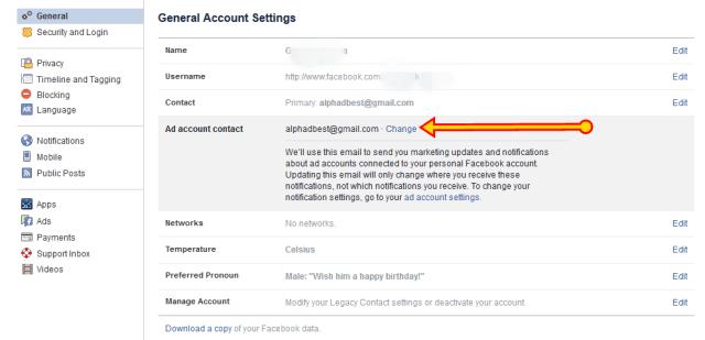 Facebook Ad account contact