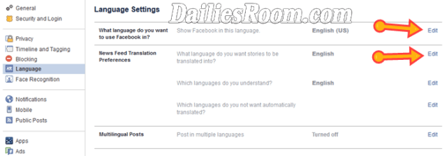 How to Change Facebook Account Language - Change FB Language