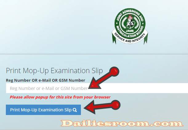 www.jamb.org.ng - How To Print Mop-Up Examination Slip