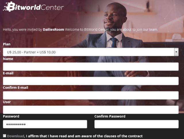 Bitworld Company/ Registration & Login From www.bitworldcompany.com
