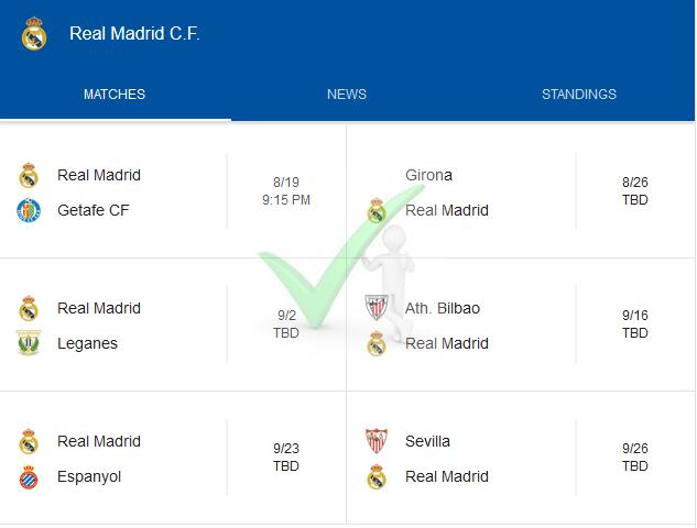 2018-19 Season Real Madrid La Liga Fixtures In Full