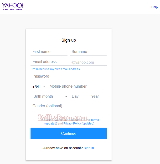 Yahoo Registration to Create Facebook Account With Mobile or Pc