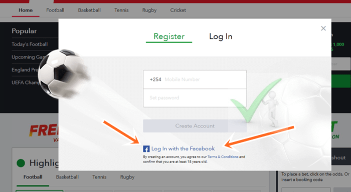 Log In With Facebook Account on SportyBet.com Online Betting