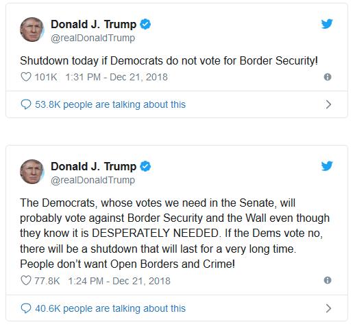 Donald Trump Partial US Government shutdown Promises In Full