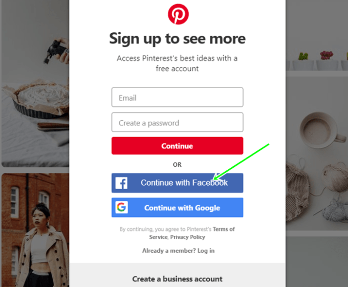Pinterest Login With Facebook Account | Create Pinterest Via FB.com