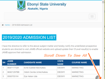 How To Check Ebonyi State Admission List Online at https://ebsu.edu.ng/