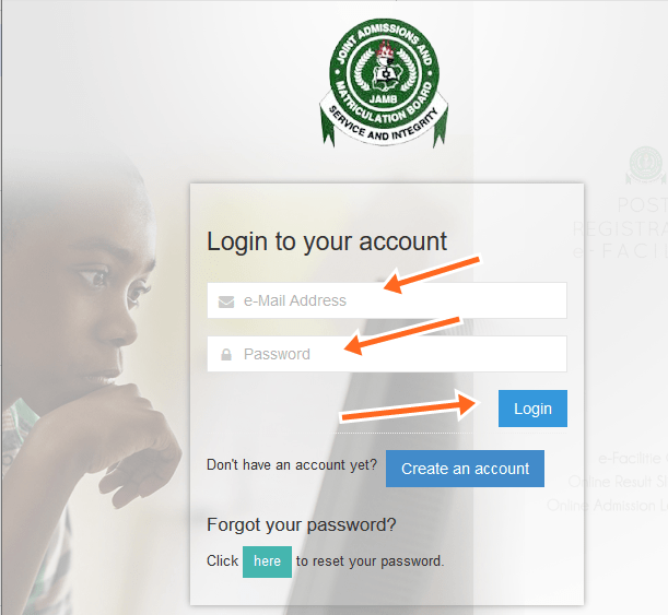Jamb Login for List
