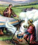 Jacob feeds Esau