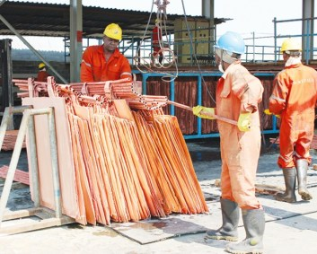 MINERS processing copper at one of the mines on the Copperbelt.