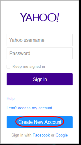 Yahoo mail registration page