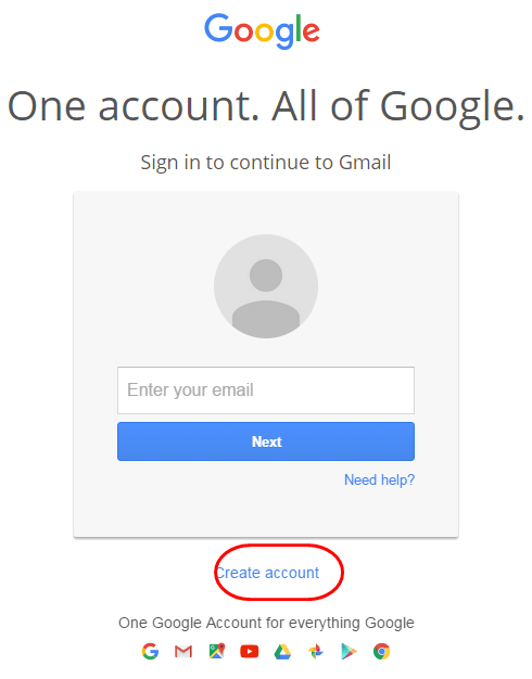 Gmail new account registration form