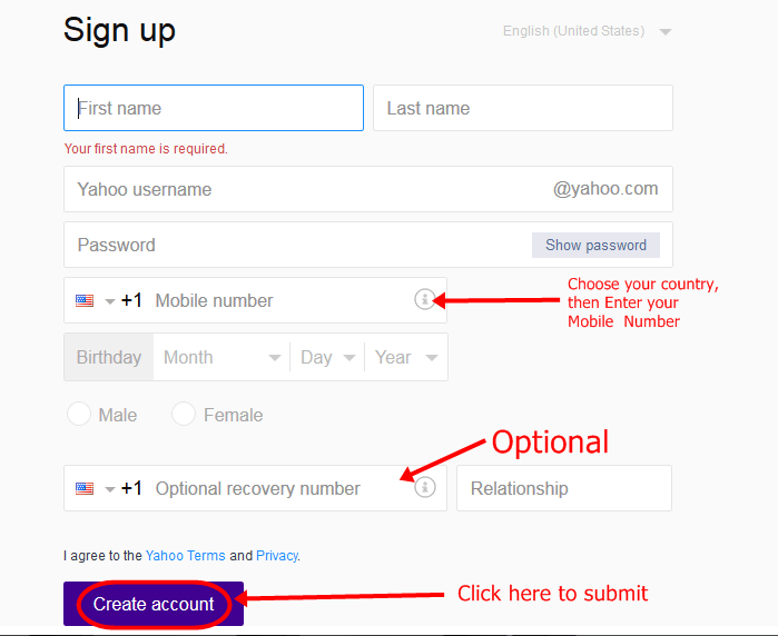 Yahoomail sign up site