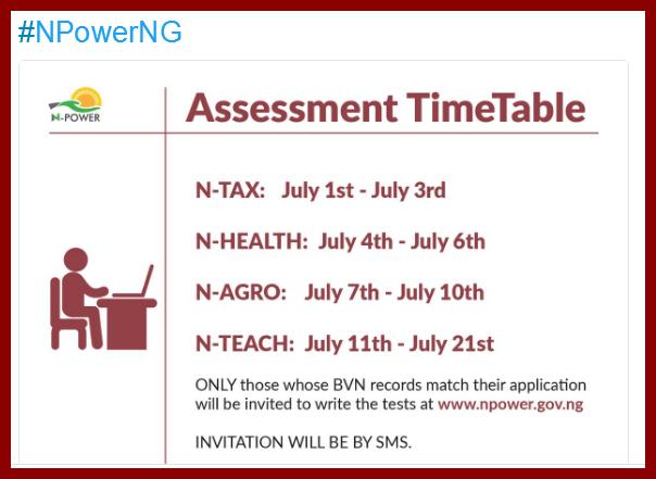 2017-2018 N-Power Nigeria Assessment Test Dates