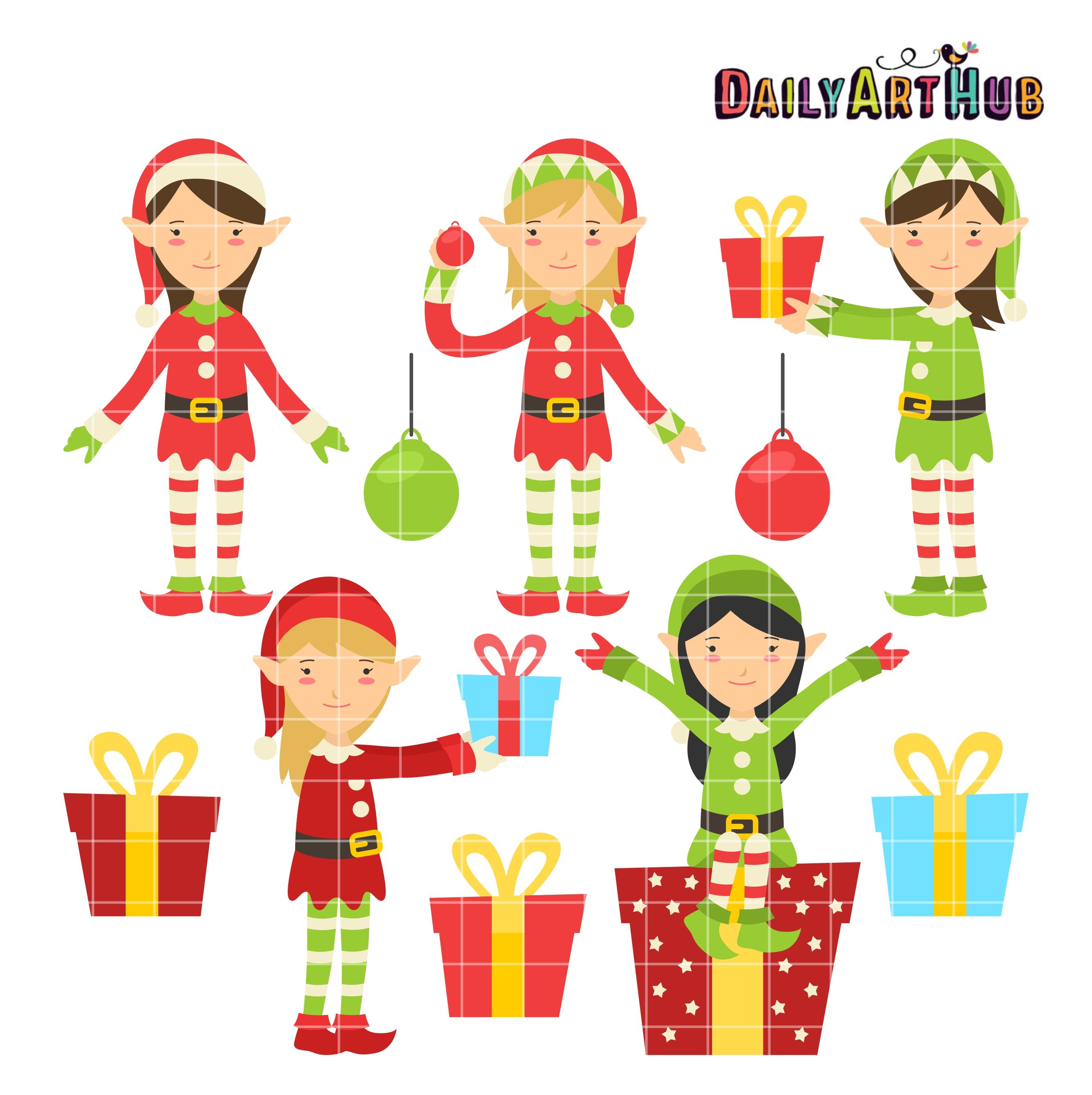 Christmas Elves Clip Art Set Daily Art Hub Free Clip