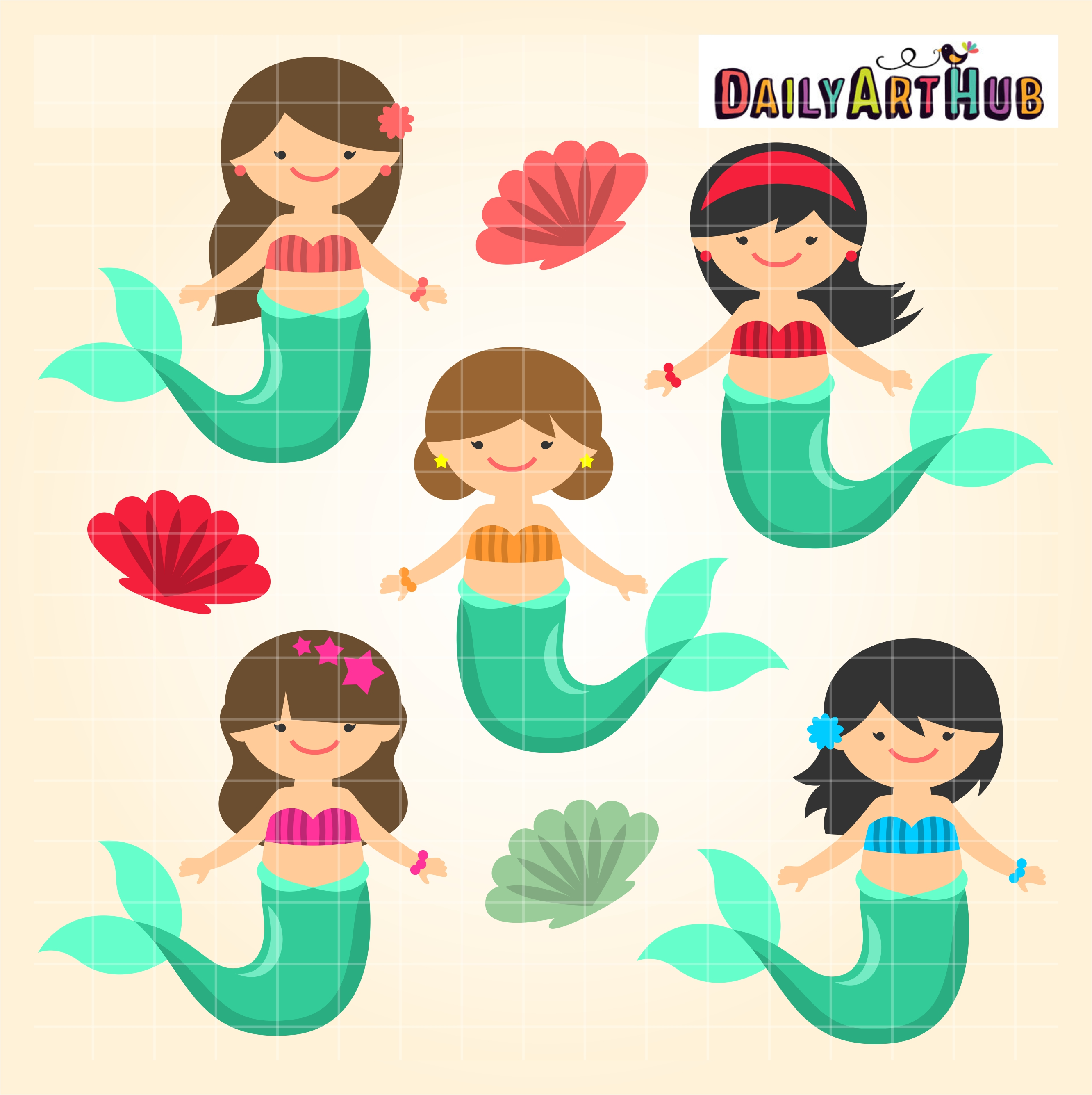 Mermaid Kids Clip Art Set Daily Art Hub Free Clip Art