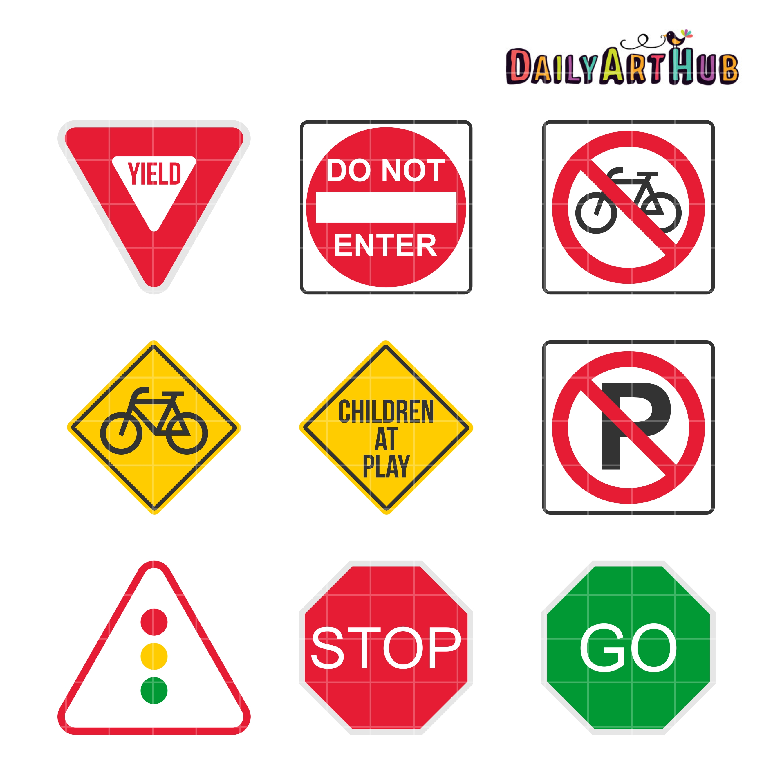 9 Road Signs Clip Art Set Daily Art Hub Free Clip Art