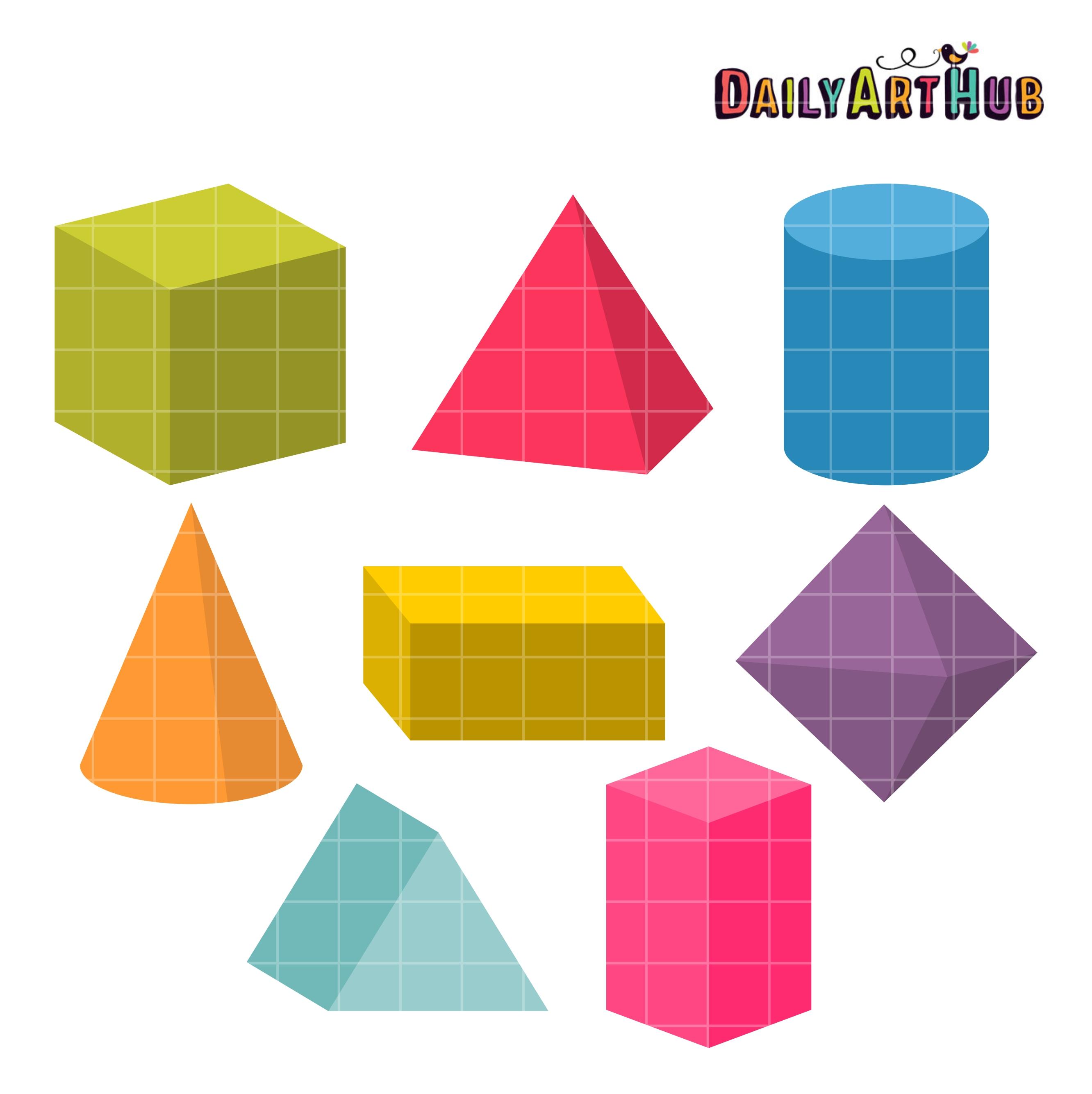 3d Shapes Clip Art Set Daily Art Hub Free Clip Art