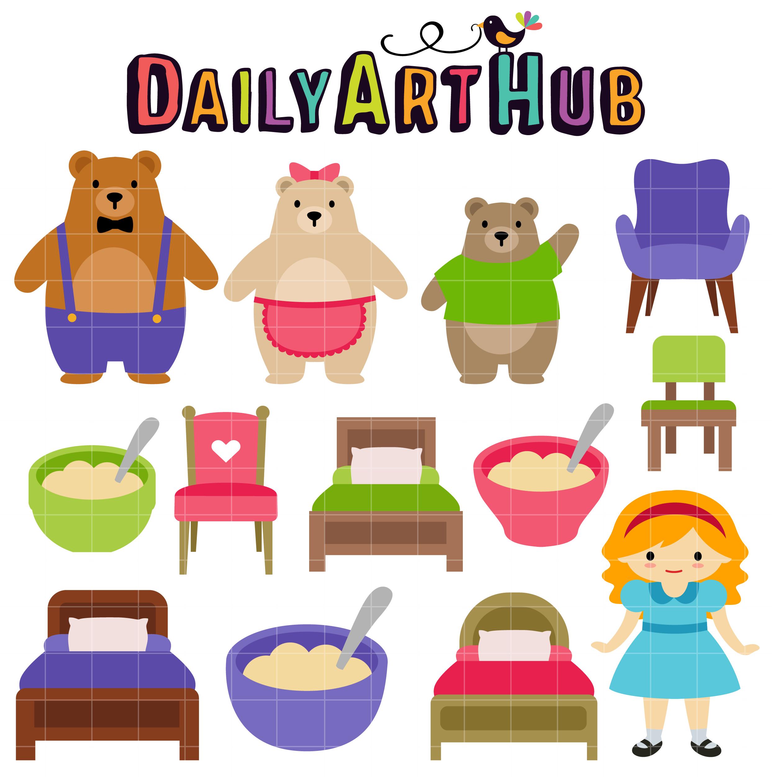 Goldilocks And The Three Bear Clip Art Set Daily Art Hub