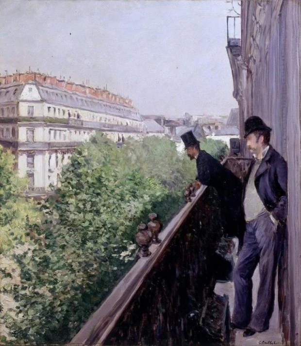 Gustave Caillebotte A Balcony Boulevard Haussmann 1880, private collection