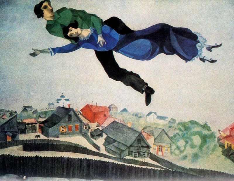 Marc Chagall, Over the town, 1918, Tretyakov Gallery, Moscow, Russia bella and marc chagall