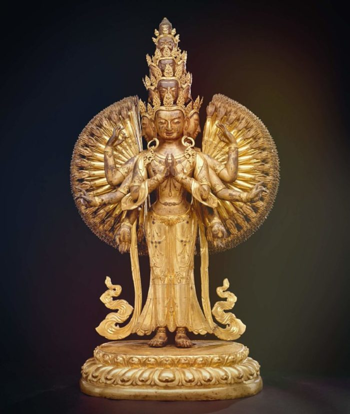 bronze sculpture of bodhisattva Avalokiteshvara with many arms and heads