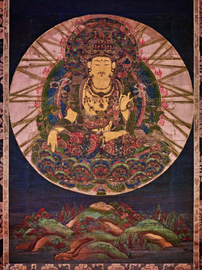 eight great bodhisattvas, painting of Akashagarbha or Kokuzo Bosatsu, sitting in the center, inside the circle on the dark background