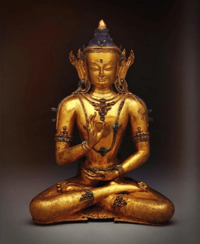 eight great bodhisattvas, the guilt bronze statue of Maitreya or the Future Buddha
