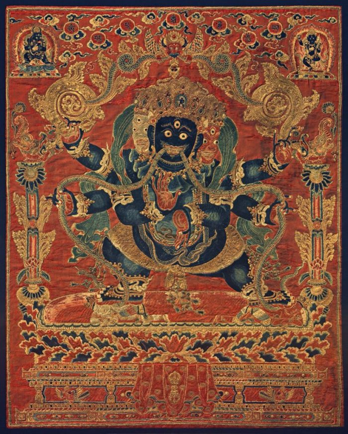 eight great bodhisattvas, blue Vajrapani in the center of embroidery on the dark orange background