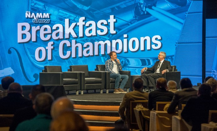 NAMM president and CEO Joe Lamond hosts the Breakfast of Champions kick-off event at the Anaheim Hilton during the NAMM Show 2018 on Thursday, Jan. 25, 2018. (Photo by Keith Durflinger, Orange County Register/SCNG)