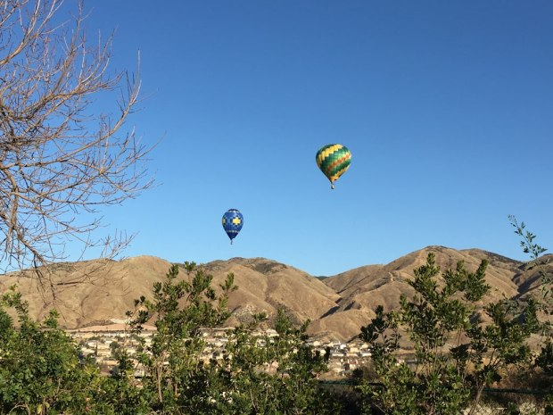 San Bernardino County sheriff's deputies had to ask two hot air balloon pilots to land their crafts after authorities received numerous 911 calls reporting they were flying dangerously close to rooftop, Tuesday, Feb. 6. (Courtesy San Bernardino County Sheriff's Department)
