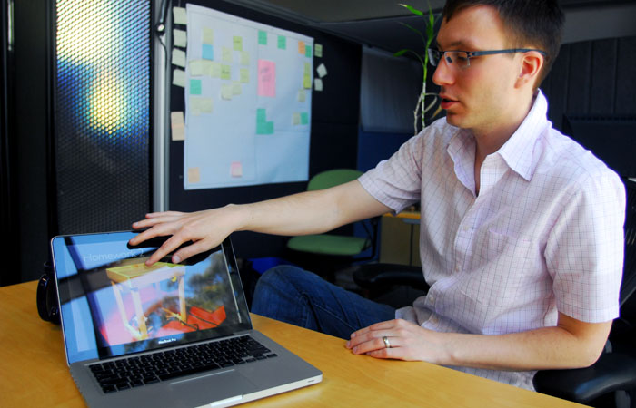 Bjorn Hartmann, above, believes the interface device will not be popular among typical computer users.