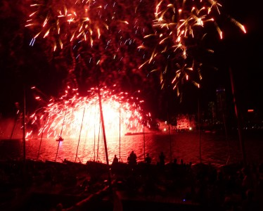 Fireworks igniting over the Charles River