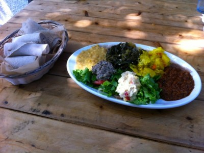 Teff injera and vegetable combo platter