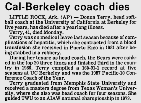 An Associated Press article on the death of Donna Terry on June 29, 1988. Terry passed away at the age of 41.